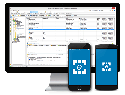 AMTANGEE CRM Software mit Desktop Monitor mit Mobile CRM iPhone / Android (CRM Software / Download)