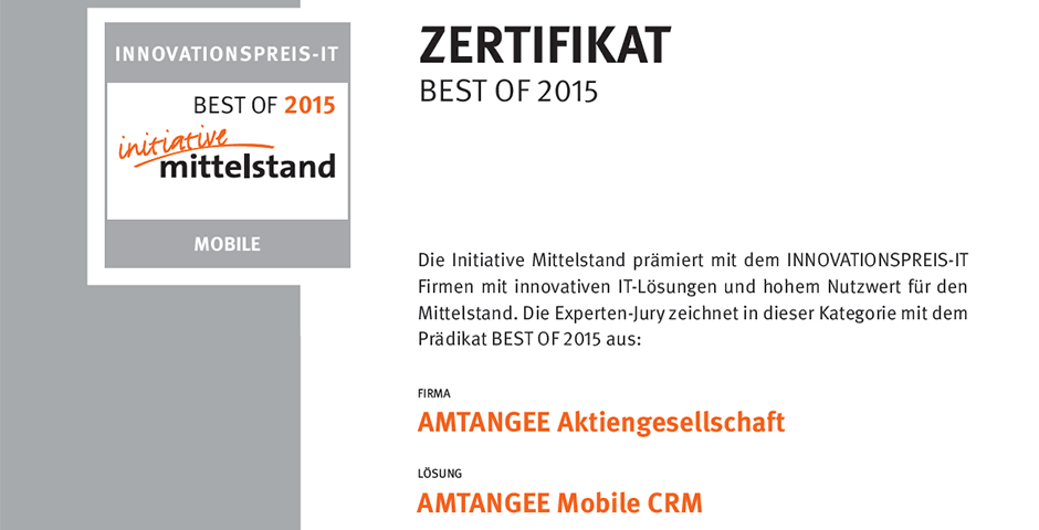 Innovationspreis-IT 2015 - BEST OF Mobile 2015 für AMTANGEE Mobile CRM